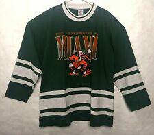 Miami Hurricanes Crewneck Jersey Mascot Ibis College Football L/S Shirt X-Large