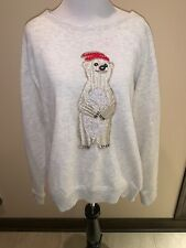 American Eagle Outfitters Polar Bear Embroidered Pullover Sweatshirt Sz Xl