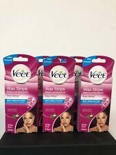 Veet Face Wax Strips   >>12 Wax Strips & 2 Wipes Per Box  << 3 BOXES >>