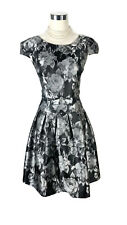 REVIEW Dress - Black Silver Grey Vintage Style Cap Sleeve Bow Cocktail Dress - 8