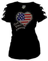 Bling Rhinestones 4th July T-shirt Ripped Slit Cut Out American Flag HEART S~4X