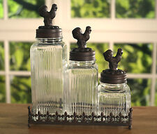 Set of 3 x Glass Air Tight Canisters Storage French Provincial Wrought Iron NEW