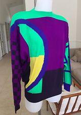 1991 vintage GIANNI VERSACE purple green blue yellow wool sweater size 50 IV ITA