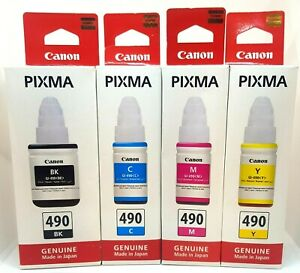 NEW & UNUSED - Canon GI-490 Original Ink Bottles BK/C/M/Y - Install by date 2020