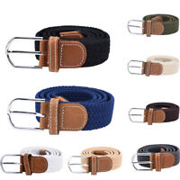Belt For Men Elastic Waistband Canvas Buckle Braided Mens Woven Stretch Str>v SF