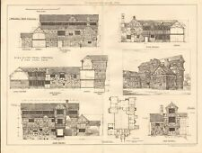 1883 ANTIQUE ARCHITECTURE, DESIGN PRINT- MORETON HALL CHESHIRE, DESIGNS
