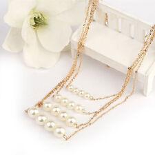 Moda Joyería Colgante Cadena Collar tipo Gargantilla Gruesa de perlas multicapa