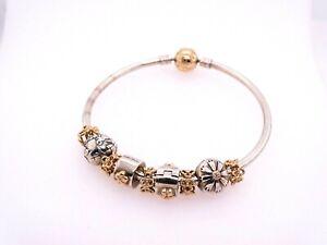 """Pandora Bangle Bracelet with 14k Gold Charms-  Size 6"""""""