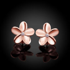 18K rose gold plated pretty flower woman girls kids stud earring 14mm + bag