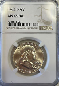 NGC certified MS-63 FBL 1962-D 50C AS