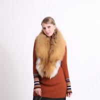 "130cm/51""inch Men&Women Real Natural Red Fox Fur Collar Scarf Shawl Wrap Cape"