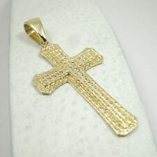 "BRAND NEW! Custom 14K Yellow Gold Large Diamond Cut Cross, 8.9 grams 2.75"" long"