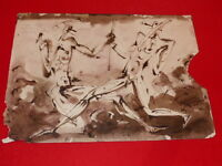 [Coll. RAOUL-JEAN MOULIN ART XXe] JAN VLCEK (CZ) DESSIN ENCRE SEPIA 1969 fight