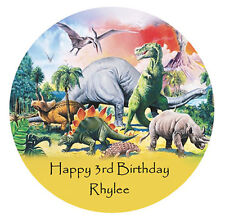 DINOSAUR Personalised Premium edible WAFER PAPER Cake Decoration Topper Image