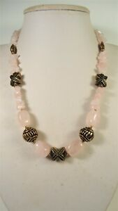 Lee Sands Wacky Friday Rose Quartz w Antiqued Beads Necklace