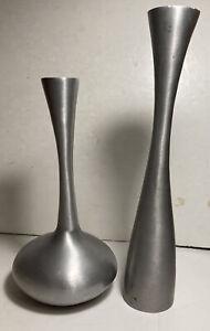 West Elm Silver Tall Metal Vase Set Of 2 MCM Modern Style Spun Brushed~NICE EUC!