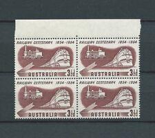 AUSTRALIE - 1954 YT 213 bloc de 4 - CHEMIN DE FER - TIMBRE NEUF** MNH LUXE