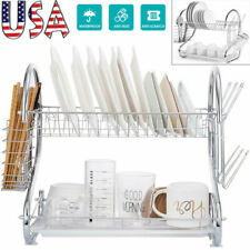 2 Layer Cup Bowl Drying Rack Dish Drainer Cutlery Holder Kitchen Organizer Shelf