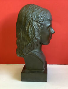 Yuki Shintani Japan 1950 Vintage Bronze Bust Sculpture Young Girl-Signed & Dated
