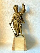 ANTIQUE FRENCH GILT SPELTER FEMALE HOLDING 3 FISH STATUE