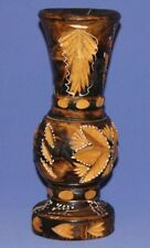 Vintage Folk Hand Carving Painted Wood Vase
