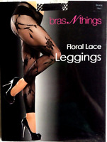 BRAS N THINGS BLACK FLORAL LACE LEGGINGS SIZE TALL