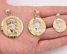 Diamond Cut Jesus Head Charm Pendant Medallion Charm Real 10K Yellow White Gold