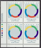 CANADA #1146 36¢ Quebec Summit 1987 LL Inscription Block MNH