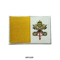 Vatican City National Flag Embroidered Patch Iron on Sew On Badge For Clothe etc