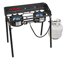 Two Burner Gas Propane Stove Stand Portable Cooking Grill BBQ Camp Outdoor
