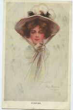Forever Pretty Girl Hat Philip Boileau Vintage Postcard Posted