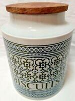 Hornsea Pottery Tapestry Pattern Biscuit Barrel, Jar with Original Hardwood Top