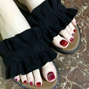 Wine Red Fake Toe Nails with Glitter Stripe Full Artificial Short Press On Nails