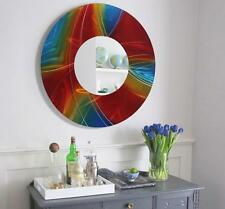 Jon Allen Metal Art Wall Mirror Round Hanging Abstract Rainbow Modern Decor