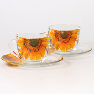 SET OF 2 GLASS TEA CUPS & SAUCERS WITH SUNFLOWERS DECAL / MUGS MADE IN RUSSIA