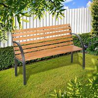Garden Vida Wooden Slatted Outdoor Garden 2 Seater Bench, Natural and Grey