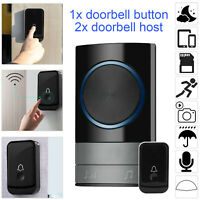 Wireless Door Bell Waterproof Doorbell Wall Plug In Loud Chime LED Flash 1+2 UK