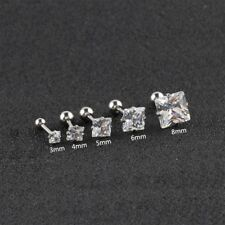 Surgical Steel Square zircon Prong Set Tragus Cartilage Ear Ring Piercing Stud