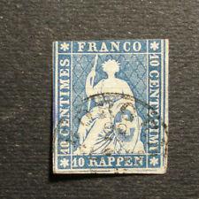 Schweiz 1854: 10 C. Sitzende Helvetia, blau, MN 14 I Münchner Druck -gestempelt