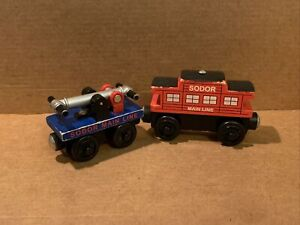 Sodor Main Line Handcar & Caboose - Mixed Years - Thomas & Friends Wooden Used