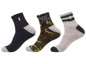 Polo Ralph Lauren Men's Socks Camo Ankle 3-Pairs Green/Navy 10-13 Fits 6-12.5