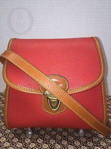 """Vintage~Dooney & Bourke AWL RED-R133 """"Little Lock Bag*Cross Body*Purse*16136N"""