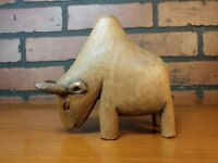"Unique Hand Carved Brahma Bull Cow Figurine Wood Carving 5"" Long"