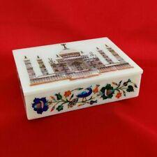 Marble Trinket Box Semi Precious Stones Handmade Inlay Work