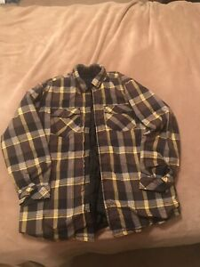VTG ATF Snowboard Flannel Cholo Winter Lined Jacket Yellow Brown Gray Pattern XL