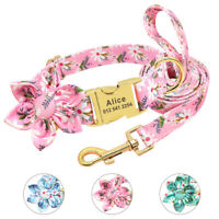 Floral Soft Personalized Puppy Dog Collar and Leash Set Engraved ID Name Custom