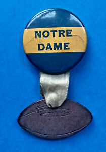 Vintage 1940s Notre Dame Pinback with Leather Football Pendant on Ribbon