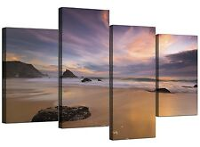 Beach Canvas Prints of Sunset for your Bedroom - Set of 4 - Purple Landscape