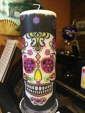 Day of the dead Sugar skull (rosa e giallo) decorato a mano pilastro candela 90hrs