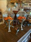 ANTIQUE PAIR   GENERAL STORE  PHARMACY APOTHECARY JARS W  STANDS  FOR ABSYNTHE